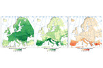 Figure 1. Richness of freshwater fish species across Europe indicated as either susceptible (middle panel) or non-susceptible (left panel) to climate change, and the relative share of susceptible species in the local total species richness (right panel). Figure 1. Richness of freshwater fish species across Europe indicated as either susceptible (middle panel) or non-susceptible (left panel) to climate change, and the relative share of susceptible species in the local total species richness (right panel).